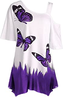 Fankle Women's Casual Tops Blouse T-Shirt Butterfly Print Off Shoulder Sale Short Sleeve Pullover