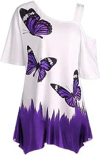 HGWXX7 Women Casual Plus Size Butterfly Print Off Shoulder Tops Blouse T Shirt
