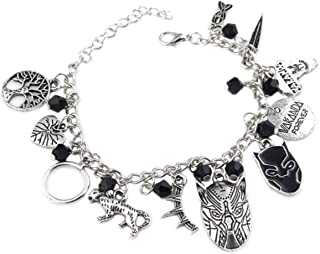 Marvel Black Panther Black Enamel Mask,Tree,Crown,Leopard & Black Crystal Bead Charm Bracelet.Perfect Fan Gift of This Super Hero Film