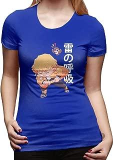 UXUEYING Demon Slayer Kimetsu No Yaiba Chibi Agatsuma Zenitsu T-Shirt Blouses Women Short Sleeve Tops