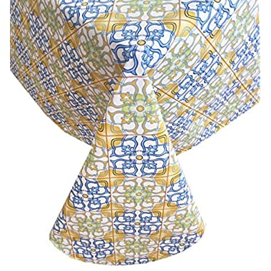 Moroccan Mosaic Boho Style Heavy Gauge Flannel Backed Vinyl Tablecloth, Indoor/Outdoor Use, (60 Inch x 120 Inch Oblong/Rectangle)