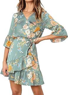 720710b0c50 Women Half Sleeve Floral V Neck Wrap Mini Dress Boho Floral Print Summer  Bow Tie Short