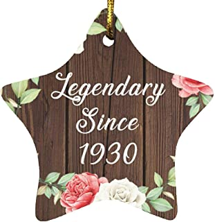 91st Birthday Legendary Since 1930 - Star Wood Ornament A Christmas Tree Hanging Decor - for Friend Kid Daughter Son Gran...