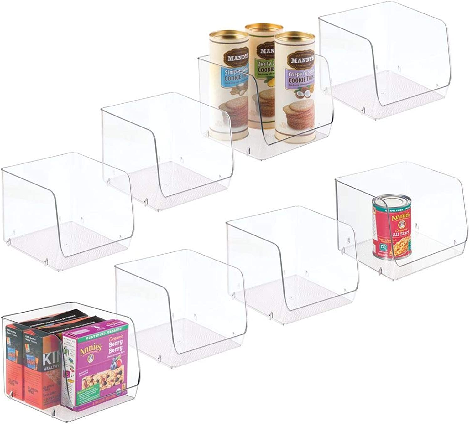 MDesign Large Household Stackable Plastic Food Storage Organizer Bin Basket with Wide Open Front for Kitchen Cabinets, Pantry, Offices, Closets, Bedrooms, Bathrooms - Cube - 7.75  Wide, 8 Pack - Clear