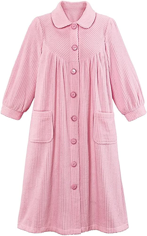 Plush Fleece Button Front Robe Sale special price with Max 89% OFF Collar Pockets