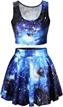 Pink Queen Womens Printed Crop Top Pleated Skater Rave Skirt 2 Piece Set
