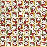 ABAKUHAUS Weihnachten Stoff als Meterware, Santa Schneemann