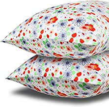 MANSPHIL Print Silk Pillowcase, Flower Strawberry Pattern, 100% Mulberry Silk Pillow Cases Cover with Hidden Zipper, Care for Hair and Skin/Anti Wrinkle, Queen 20