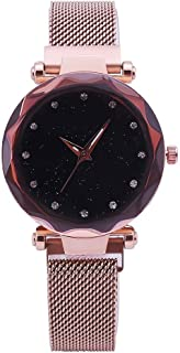 Waterproof Watch Principal Sky Creative Lady Magnet Buckle Milan Strap Glass + Alloy + Stainless Steel Quartz Wrist Watch Female Mannikin Black/Blue/Pink 3ATM (Color : Pink)