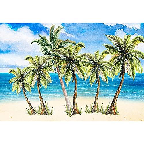 Fondo de fotografía de Verano Fondo de fotografía de Arena de Playa de mar Tropical Starfish Shell Palmera Estudio fotográfico A7 10x10ft / 3x3m