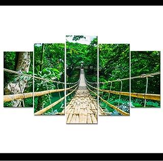 BSZHCT Impresiones sobre Lienzo 5 Piezas Puente Colgante Forestal Cuadro sobre Lienzo Impresión Imagen de Estiramiento Arte Moderno Mural de póster Listo para Colgar 150x80 cm