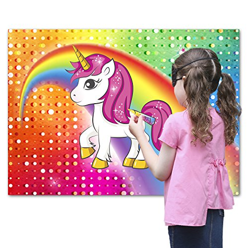 Pin the Horn on the Unicorn Party Favor Game for Kids – Includes: 24x Reusable Sticker Horns, Perfect for Large Parties, 2x Blindfolds, 10x Adhesive Glue Dots – Unique Magical Rainbow Design