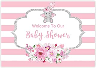 Allenjoy 7x5ft Elephant Baby Shower Backdrop for Girl Party Decoration Supplies Pink White Stripes Banner Newborn Kids Birthday Watercolor Flower Photography Background Photo Booth Studio Props Favors