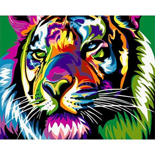 Peinture à l'huile numéro | bricolage peinture par numéros Lion animaux peinture à l'huile peint à la main décoration murale toile dessin cadeau-991302-60x75 cm cadre de bricolage