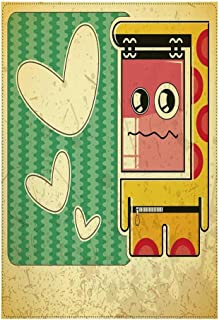 Retro Stylish Backdrop,Vintage Sad Game Boy with Abstract Pattern and Hearts Kids Boys Cartoon Illustration Decorative for Photography,39