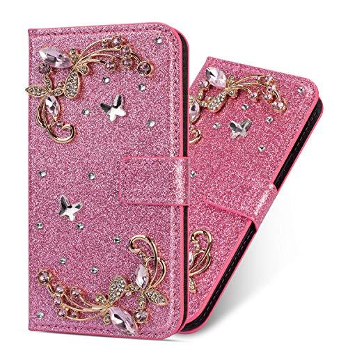 Miagon Hülle Glitzer für Samsung Galaxy A40,Luxus Diamant Strass Blume PU Leder Handyhülle Ständer Funktion Schutzhülle Brieftasche Cover,Rosa