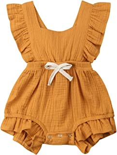 Newborn Baby Girl Romper Bodysuits Cotton Flutter Sleeve One-Piece Romper Outfits Clothes