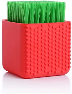 Silicone Cleaning Brush Clothes Brush Laundry Brush Stain Brush for Clothes Underwear Shoes, All Purpose Scrub Brush (red)