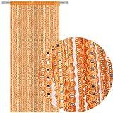 Fadengardine Türvorhang Fadenvorhang Metallikoptik mit Stangendurchzug, trendig schön in vielen erhältlich (90x200 cm/orange - Hellorange)