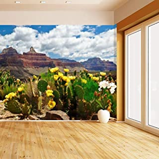 HIMURAL The Grand Canyon and Flowering Cactus on a Sunny Day Self Adhesive Peel and Stick Wallpaper Self Stick Mural Photos Home Wall Paper Sticker Wall Mural Decals Fresco Posters Removable