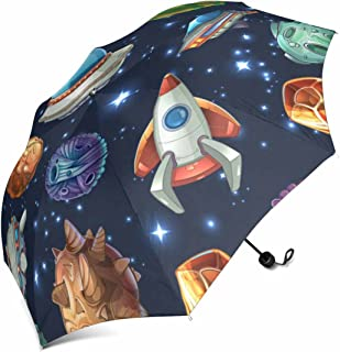 InterestPrint Comic Space with Planets and Spaceships, Rocket Cartoon, Star and Science Design Manual Umbrella Folding Compact Travel Waterproof Umbrella