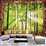 Msrahves Fotomurales 3D Verde árboles luz del sol pared de ladrillo 150X100CM Decoración de Pared decorativos Murales Para sala de estar TV fondo pared Murales de pared papel pintado papel de pared do