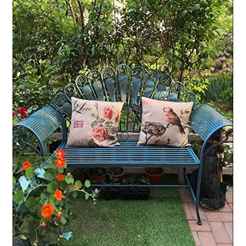 zenggp Banco De Jardín Rústico De Metal Forjado De Hierro Exterior Asiento De Silla De Muebles De Porche De Patio Diseño De Plumas De Pavo Real