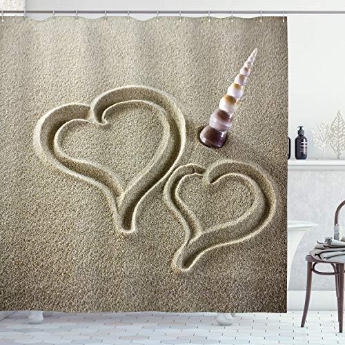 ABAKUHAUS Schale Duschvorhang, Hearts and Sink Muschel Sand, mit 12 Ringe Set Wasserdicht Stielvoll Modern Farbfest & Schimmel Resistent, 175x240 cm, Pale Sepia & Dunkles Palisander