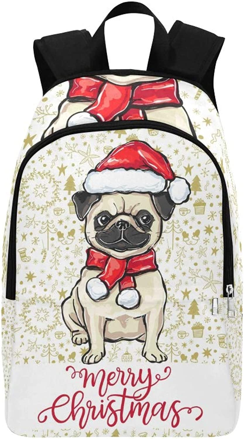 Merry Christmas Greeting Card Funny Pug Casual Daypack Travel Bag College School Backpack for Mens and Women