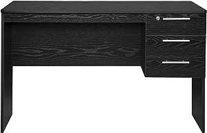 WOLTU TS59sz Scrivania con 3 Cassetti per Ufficio Studio Tavolo da Lavoro Porta PC in Legno Nero 120x59x75 cm