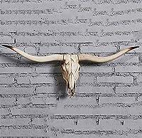 牛スカル 壁掛け 巨大なロングホーンと ブルヘッド 取り外し可能なホーン 置物の像飾り ホーム、バー、オフィス用,B