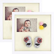 Frametory, Set of 2, 11x11 White Shadow Box Frame - Includes Moveable Separator - Gallery Wall Display - Sawtooth Hanger, Swivel Tabs - Great for Weddings, Decorations, Art, Projects (11x11, White)