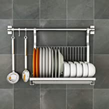 Kitchen Storage Rack 304 Stainless Steel Dish | Wall-Mounted 85 ° Angle Design - with 50cm Hanging Rod for Kitchen, Storage