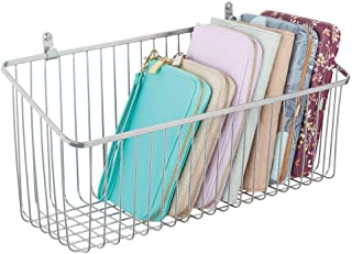 mDesign Portable Metal Farmhouse Wall Decor Angled Storage Organizer Basket Bin for Hanging in Entryway, Mudroom, Bedroom, Bathroom, Laundry Room - Wall Mount Hooks Included, Large - Chrome