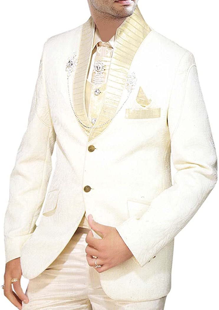 INMONARCH Mens Cream Groom Tuxedo Suit Wedding Look 8 pc TX0169XL54 54 X-Long Cream