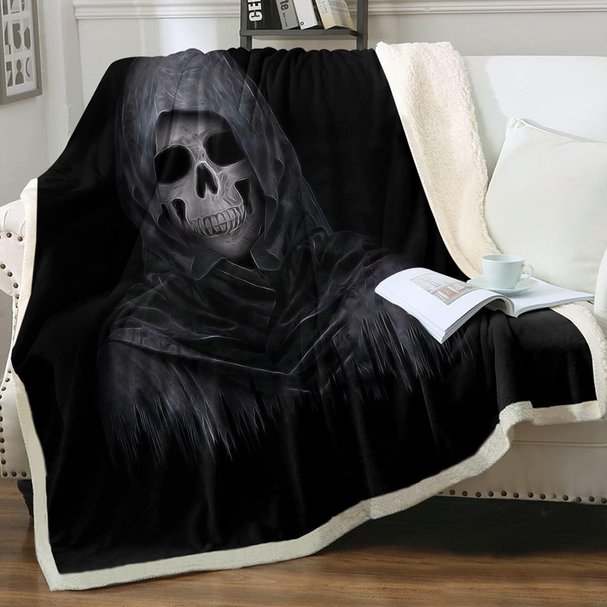 Sleepwish Dark Fashionable Skull Throw Grunge Print 3D New color Blanket