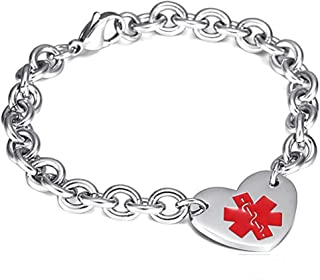 LF Surgical Stainless Steel Customized Medical Alert Heart Charm Link Bracelet Rolo Chain Medic ID Bracelets Monitoring Awareness for Womens for Outdoor Emergency Personalized,Free Engraving