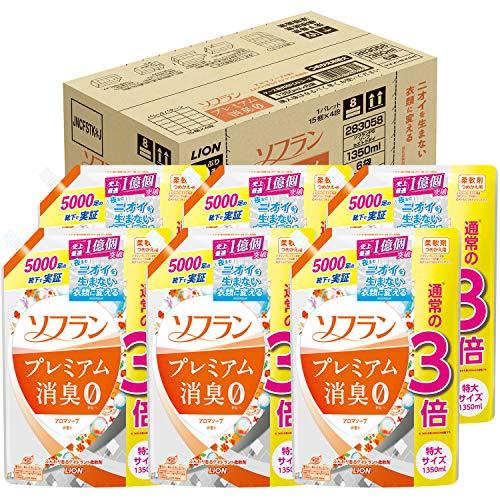 スマートマットライト 【ケース販売 大容量】ソフラン プレミアム消臭 柔軟剤 アロマソープの香り 詰め替え 1350ml×6個