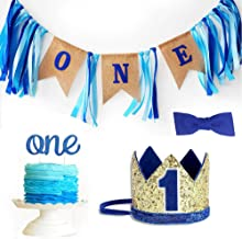 Baby 1st Birthday Boy Decorations with Crown High Chair Banner Cake Smash Party Supplies - Happy Birthday ONE Burlap Banne...