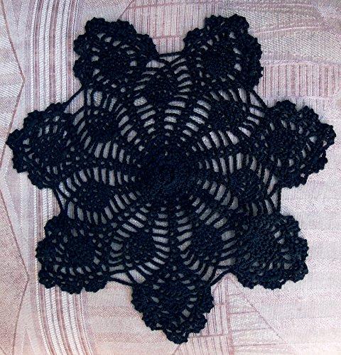 PaperLanternStore.com 11.5 Inch Bloom Shaped Handmade Cotton Crochet Doilies - Black (2 PACK)