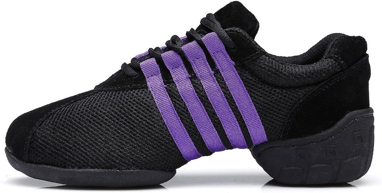 HIPPOSEUS Women's Boost Dance Sneaker Jazz Dance Sneaker Modern Jazz Soft Canvas Mesh Sport Sneaker,Model T01