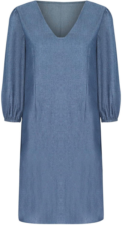 Summer Dresses for Women Trendy Solid Denim Dress V Neck Beach Sundress Half Sleeve Midi Skirt Casual Party Gowns
