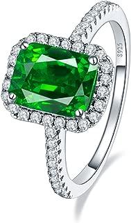 BONLAVIE 3.6ct 8x6mm Created Green Emerald 925 Sterling Silver Wedding Band Anniversary Engagement Ring