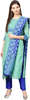 Jaipur Kurti Women Green & Blue Solid Straight Chanderi Kurta With Pant brocade Dupatta
