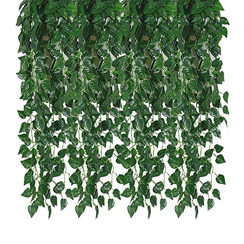 Kalolary 84 Ft 12 Strands Artificial Ivy Garland Leaf Vines Plants Greenery, Hanging Fake Plants, for Wedding Backdrop Arch Wall Jungle Party Table Office Decor (Scindapsus)