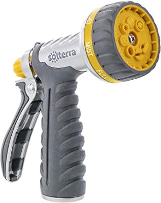 Solterra 27668 8-Pattern Garden Hose High-Flow Nozzle with Rear Trigger, Gray