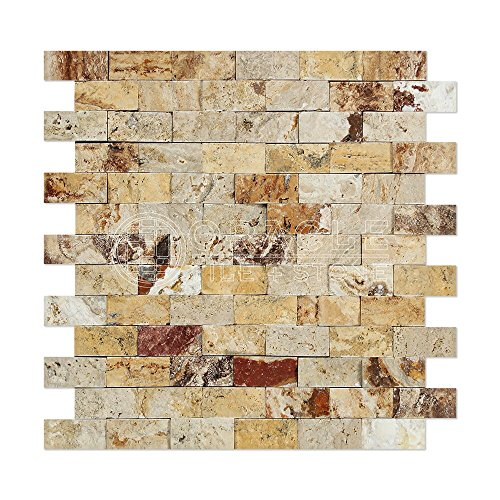 Valencia Travertine 1 X 2 Brick Mosaic Tile, Split-Faced (LOT of 5 SHEETS)