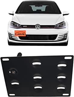 JGR Racing Car No Drill Tow Eye Front Bumper Tow Hole Hook License Plate Mount Bracket Holder Adapter Relocation Kit for 2015-up Volkswagen VW MK7 Golf GTI