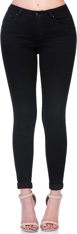 Monkey Ride Jeans Women's Mid Waist Skinny Jeans Slim Stretch Fit Black Denim