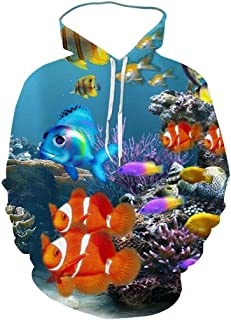 Unisex Long Sleeves Hooded Sweatshirt, Fantasy Underwater World Clownfish Pattern 3D Digital Print Pullover, Fashion Cool ...